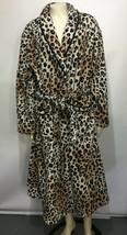 Ellen Tracy Womens L / XL Leopard Animal Print Fleece Plush Robe  - $47.53