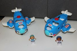 lot 2 Fisher Price Little People Girl Boy Figures Sounds lights Planes f... - $24.99