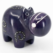 Crafts Caravan Kisii Soapstone Purple Hippopotamus Hippo Figurine Made Kenya