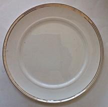"""Dinner Plate Ivory Salem China 23 Kt Gold Trim Symphony Pattern Vintage 9"""" - $3.32"""