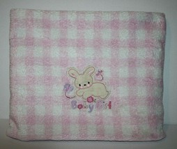 """Just Born BABY GIRL BUNNY RABBIT Blanket Pink Checked Soft Plaid 40"""" Sec... - $16.37"""