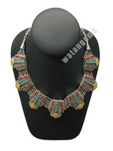Ethnic Tribal Amber, Turquoise & Red Coral Inlay Boho Statement Necklace... - $40.27