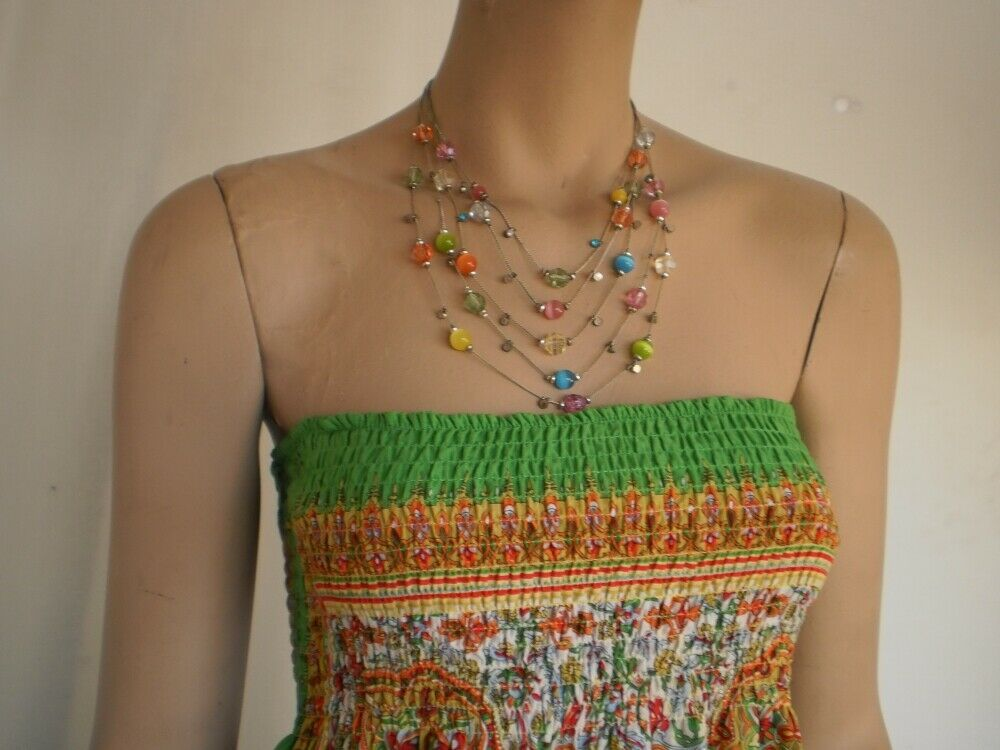 Multi-Tiered Necklace Five Strand Beaded Pale Green, Pink, Yellow, Orange, Blue
