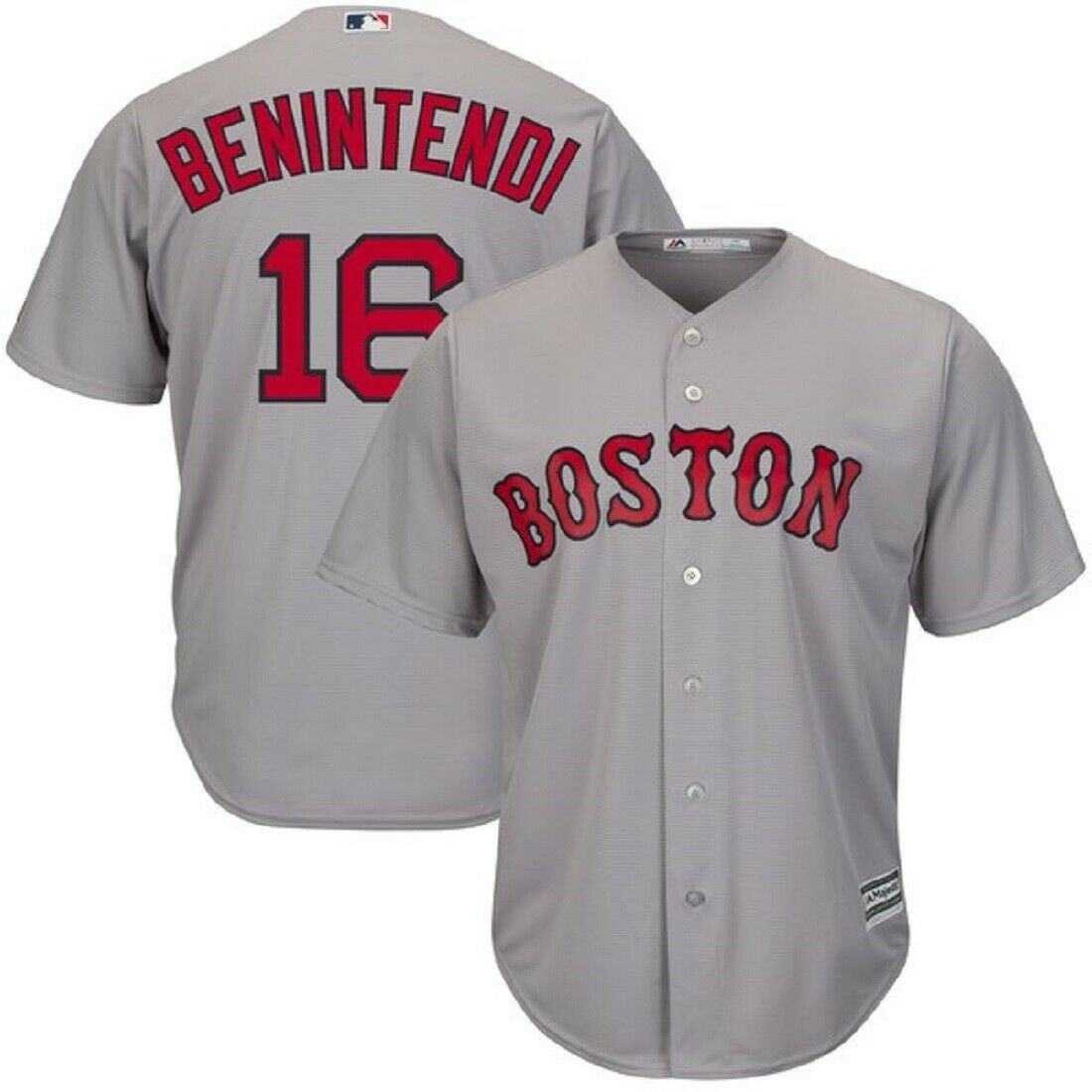 Andrew Benintendi Boston Red Sox Majestic Road Gray Cool Base Jersey Adult XL