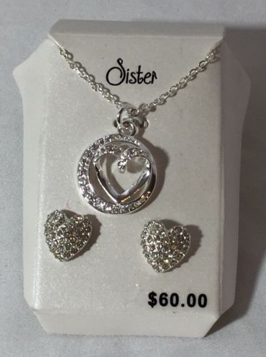 SISTER Heart Cubic Zirconia Necklace with Charm & Matching Earrings Gift Set
