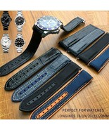 19 20 21 22mm Rubber Silicone Watch Band Nylon For Longines Omega Watche... - $40.01+