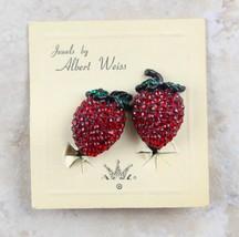 Beautiful Vintage Albert Weiss Rhinestone Strawberry Stud Clip-On Earrings - $30.71