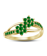 14k Yellow Gold Finish 925 Sterling Silver Green Sapphire Womens Engagement Ring - $72.99