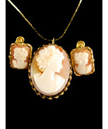 Antique Gold filled genuine Cameo necklace, brooch & earrings - gold por... - $195.00