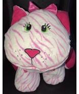 Stuffies Whisper Kitty Cat Plush Stuffed Animal Toy Storage Pink & White - $17.81