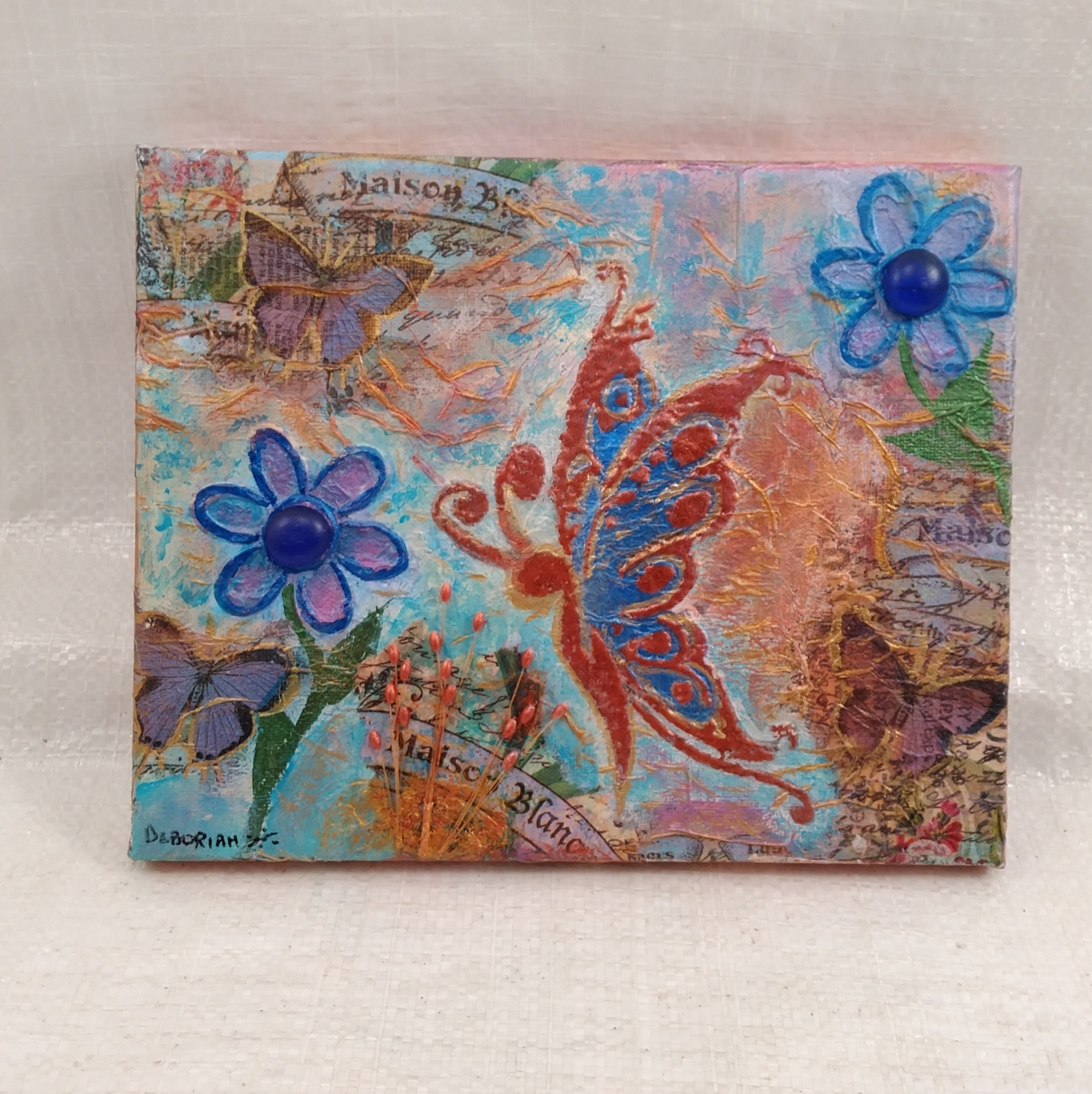 "Mixed Media Collage on Canvas ""Butterfly Dreams"" by Deboriah"