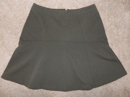 New Ann Taylor Loft Sz 8 Skirt Green Flared A-Line Ribbed Stretch Knit - $20.56