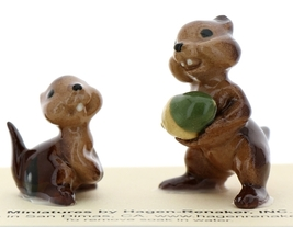 Hagen-Renaker Miniature Ceramic Figurine Chipmunk Holding Acorn with Baby Set