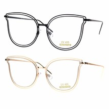 Womens Double Metal Rim Cat Eye Butterfly Clear Lens Oversize Eye Glasses - $12.95