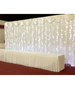 10 x 10 curtain with detachable swag and curtain lights Wedding backdrop - $96.03
