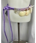 Guru International Handmade Satin Belt with Shell Embellishments, Lilac,... - $28.49