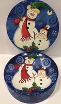 Set Of 4 Christmas Salad/Dessert Plates Snowman-VIGOR - $49.49