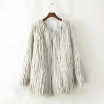 Women's High Street Long Sleeve Fluffy Faux Fur Coat image 5