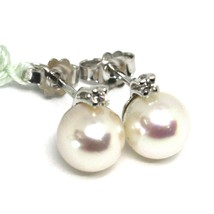 18K WHITE GOLD EARRINGS WITH WHITE ROUND AKOYA PEARLS 7.5 MM AND DIAMONDS image 1