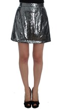 Dolce & Gabbana Gray Silver Sequined A-Line Skirt - $262.15+