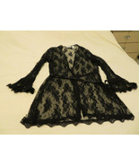 Sexy Burlesque Erotic Black Lace Robe Lingerie Intimates Delicates L/XL... - $40.00