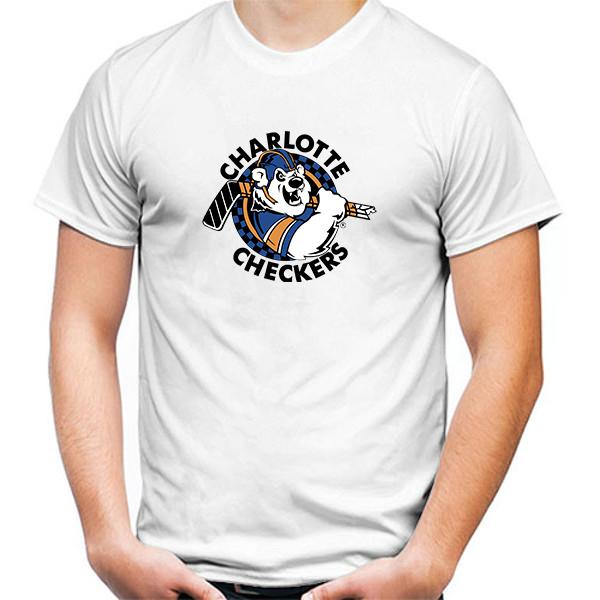Primary image for Charlotte Checkers Tshirt White Color Short Sleeve Size S-3XL