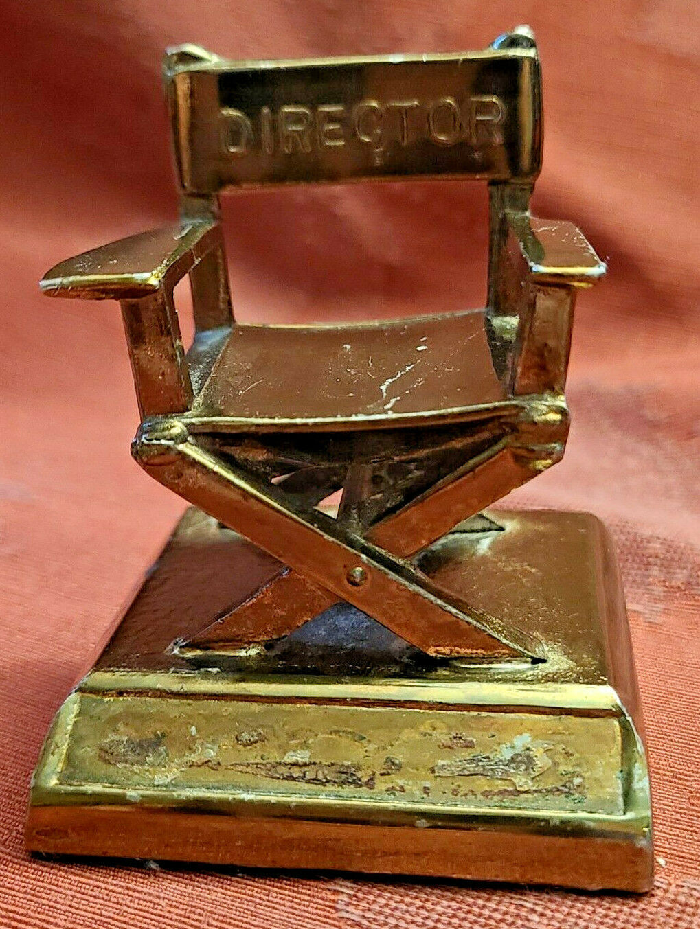 """Vintage Director's Chair Paperweight 2""""  Plaque removed Bottom Front"""
