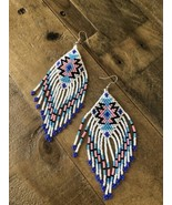 Soft Pastel Colors Long native american jewelry beaded earrings nEW - $30.00