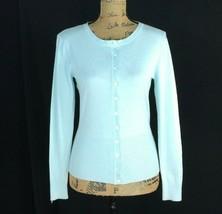 CABI XS Cardigan Sweater Light Aqua Blue Long Sl White Button Rib Hem St... - $16.95