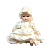 Vintage Baby Doll Porcelain White Christening Gown Realistic Doll Collec... - $24.74