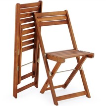 Wooden Garden Foldable Set 3pcs Patio Balcony Furniture Table & 2 Chairs Natural image 2