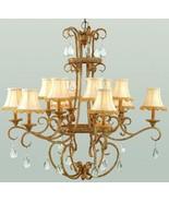 Antique Finish Chandelier Light Foyer Entrance Hall Dining Light Crystal... - $943.28