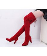 89b062 European style over-the-knee Martin boot,  Size 4-10.5, red - $52.80