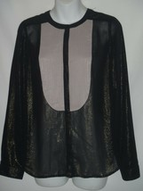 SMALL Silence + Noise Urban Outfitters Tunic Shimmer Pintuck Black Sheer... - $23.22