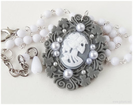 Gothic Cameo Necklace, Skeleton Lady Pendant, Beaded Rosary Chain, Monoc... - $24.00