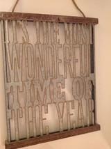 "Most Wonderful Time Sign Galvanized Metal Wood Christmas Decor 20"" x 16.... - $37.57"
