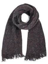 Paolo Mariani Cross Hatch Wool Blend Scarf,  Antracite Grey - $34.65