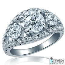 2.89ct Round Cut Past Present Future Genuine Diamond Engagement Ring 18K... - €16.383,14 EUR