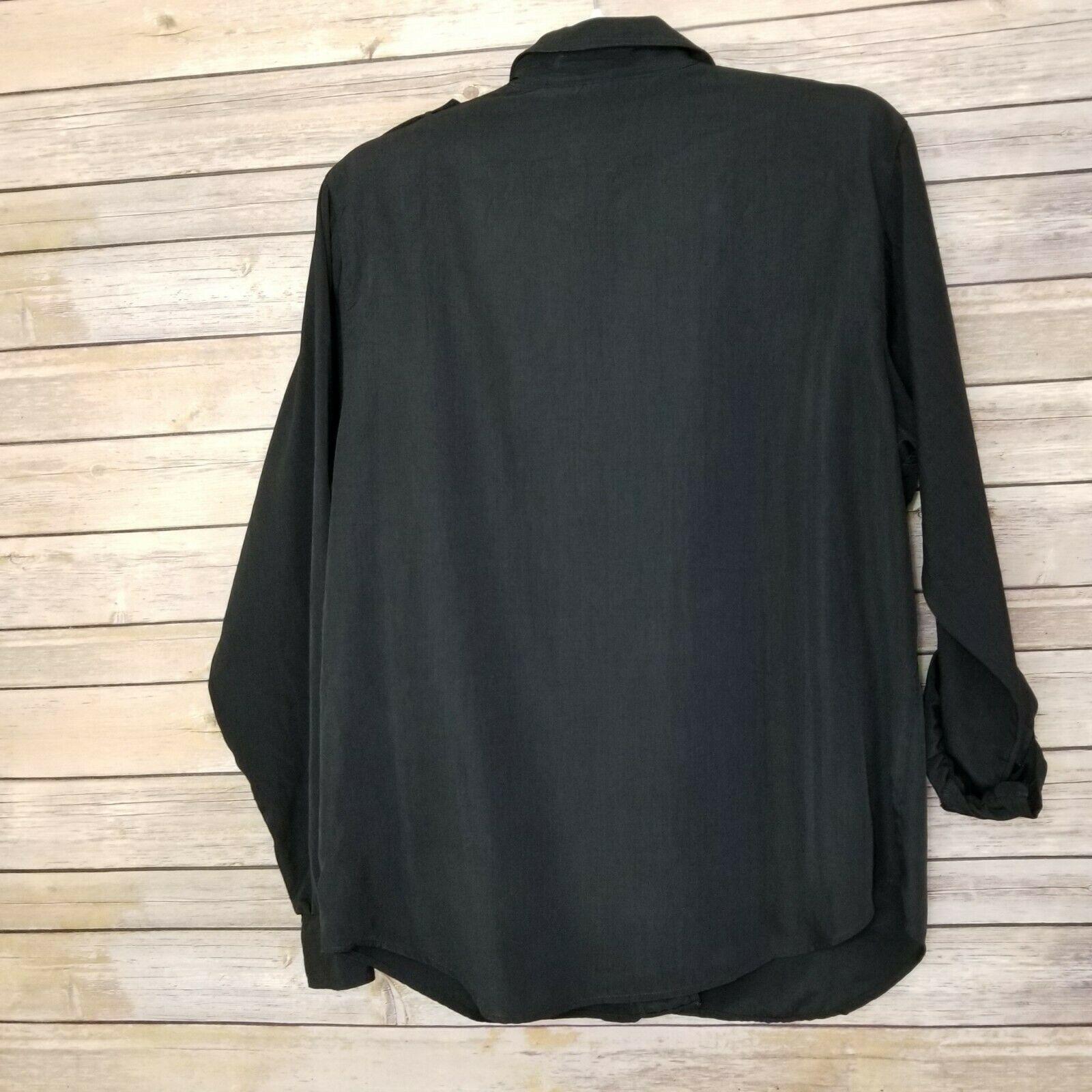 Vtg Diane von Furstenberg DVF Woman's Top Blouse Shirt Button Front Black Sz L image 6