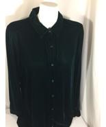 J•jill Women Pine Green  Swave Long Sleeve Casual Shirt Button Down Bin81#1 - $37.40