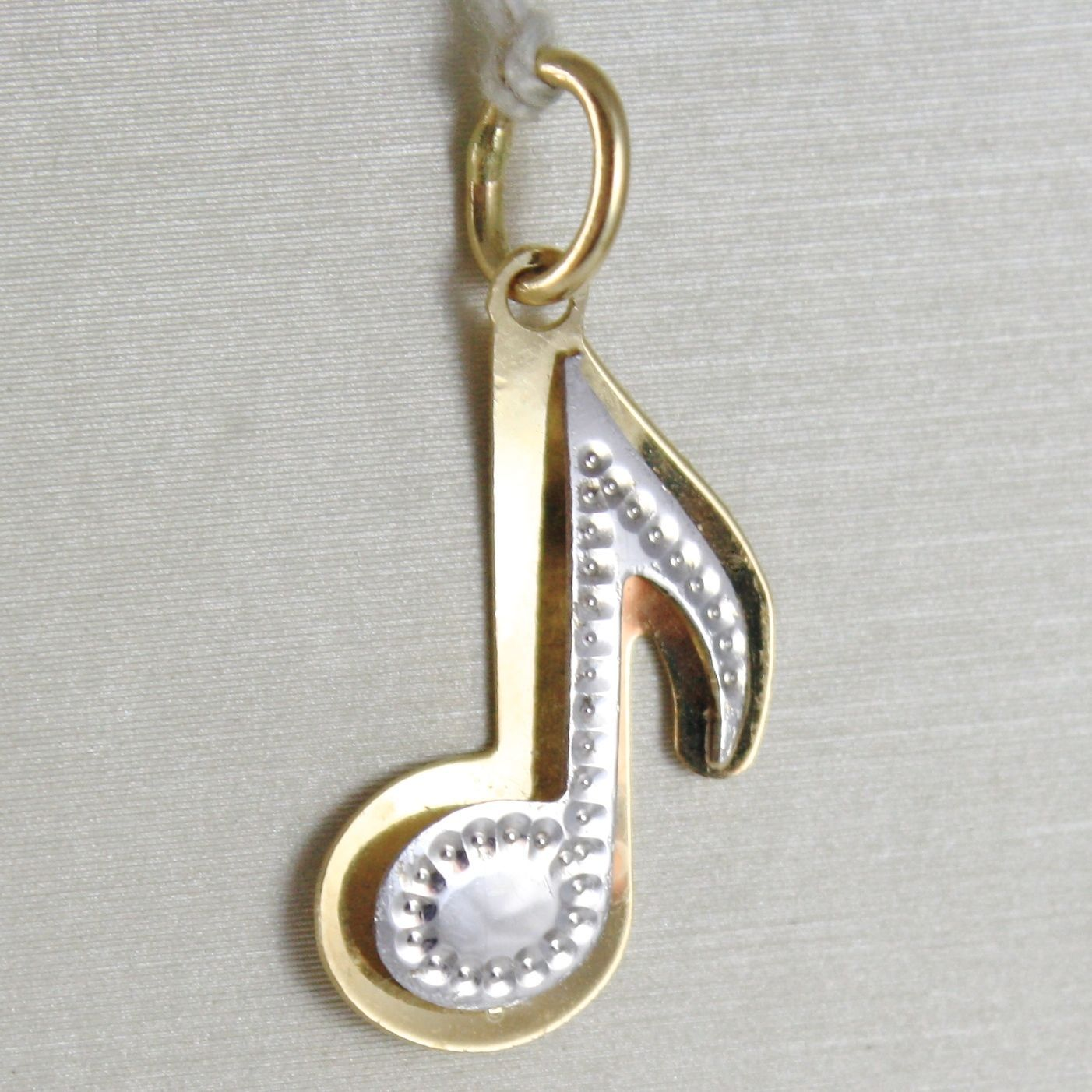 YELLOW GOLD PENDANT WHITE 750 18K, MUSICAL NOTE DOUBLE LAYER, 2.5 CM