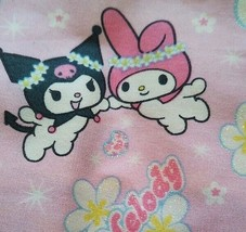 Vintage Sanrio Kuromi Fabric 19.6x43 in My Melody Glittery Flower Very R... - $21.61