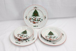 Kopin Christmas Pleasure Dinner Plates and Bowls Lot of 5 - $58.31