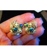 Vintage earrings Aurora Borealis blue stones faux pearls flower feather ... - $18.00