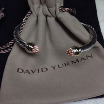 David Yurman Sterling Silver 5mm Cable Classic Bracelet Morganite and 14K Gold - $282.15