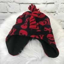 Skull & Crossbones Boys Sz 4-7 Hat Red Black Fringe Mohawk Beanie Trappe... - $14.84