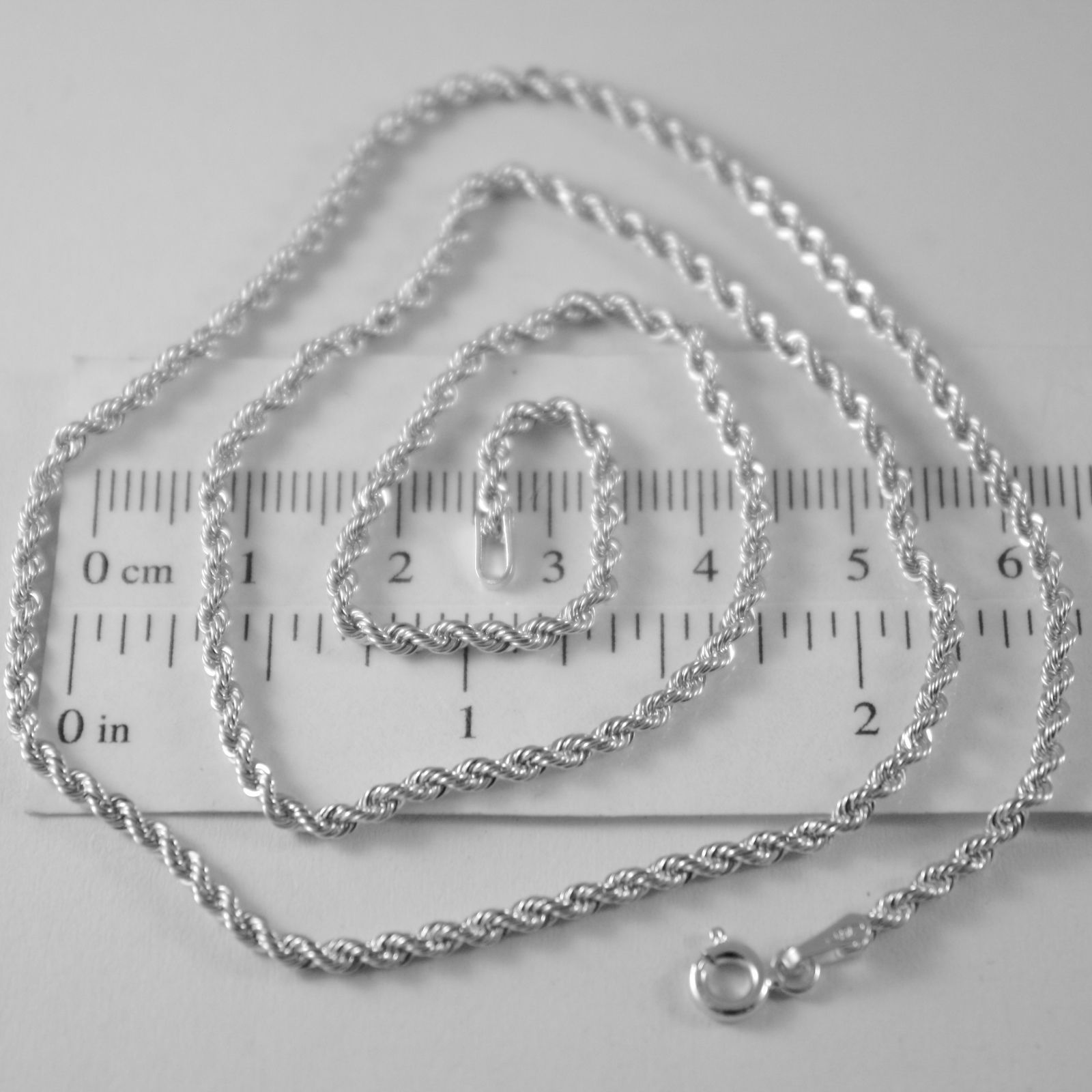 Braided Rope Chain In White Gold 750 18k, 40 45 50 60 cm, thickness 2.5 MM