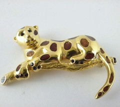 Leopard Cat Brooch marked RD with a Crown over it Gold Tone Vintage Large - $28.49