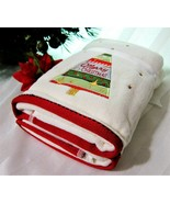 2x Christmas Hand Face Towels Red Green Tree Super Soft Plushy Thick Cotton - $20.68