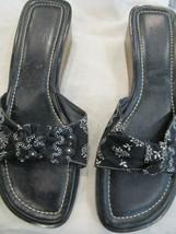 Vintage Ann Taylor Loft Wood Wedge Heels Slip on Slides Black and White Bandana - $19.99
